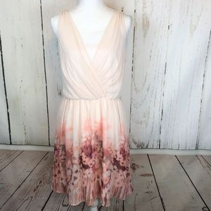 Lauren Conrad Dress Floral Pink Chiffon Ruched